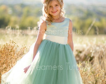 NEW! The Juliet Dress in Sage Green - Flower Girl Tutu Dress