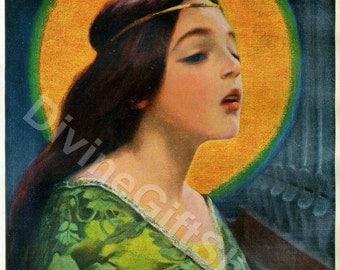 "Icon St. Cecilia 5"" X 7"" Print. Gorgeous Icon Image of Saint Cecilia. Patron Saint of Musicians."