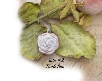 rose necklace , purple necklace, clay heart bead, 2 sided hart necklace , gift for her - heart necklace -   # 119