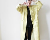 Chartreuse Silk Padded Duster Coat