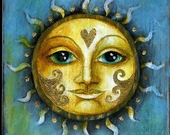 Special edition art print with gold leaf.    Sunshine by Amanda Clark.