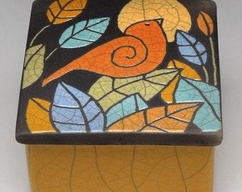 Pottery Box, Bird, Ceramic box,handmade, bird,raku fired, keepsake box, home decor, trinket box, yellow gold