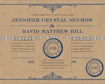 Rustic Vintage Travel Wedding Invitation - Collection options available