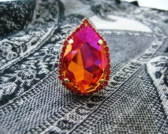 Swarovski Crystal Astral Pink Big and Bold Pear With Fuchsia Rhinestone Accents, 30x20mm, Big and Bold Jewelry, Drama Queen Statement Ring