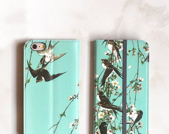 One iPhone Wallet Case Birds on Branches, iPhone 7 Plus Womens Wallet Cherry Blossoms, Swallows iPhone 6S Case