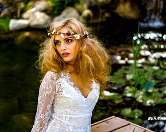Boho halo gold burgundy flower crown marsala Bridal hair wreath headpiece blush party accessories Vineyard wedding headwreath