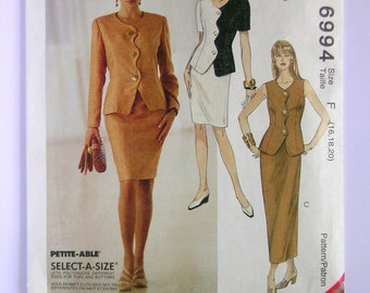 Misses' Suit or Two Piece Dress - McCalls 6994 - Vintage Sewing Pattern, Sizes 16, 18, and 20