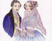 "Historical Portrait Custom Art - You in historical dress. 9""x13"""