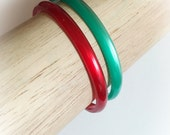 Vintage Moonglow Lucite Spacer Bangle Bracelets Set of 2 Green and Red
