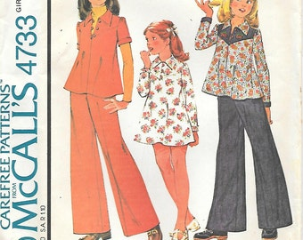 McCalls 4733 UNCUT 1970s Girls Flared Top Dress or Pants Vintage Sewing Pattern Size 7 Contrasting Yoke