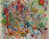 "Psychedelic Outsider Visionary Art - ""Miasma"" by Michael J Bowman aka Velveeta Heartbreak - Digital ePrint"