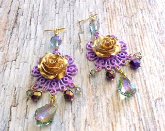 rose chandelier earrings, bohemian rise earrings, gold & lavender
