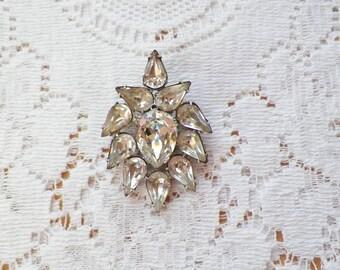 Vintage Clear Rhinestone Teardrop / Teardrops Brooch / Pin / Broach, Rhinestones, Silver Tone Metal, Bride / Bridal / Wedding / Bridesmaid