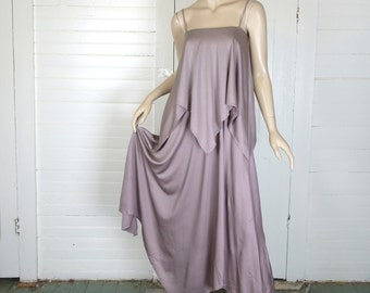 Fairy Disco Dress in Smoky Lavender- 1970s Formal / Prom- 70s- Mauve- Sharkbite Hem
