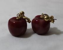 Vintage AVON Dangling Red Apple Earrings