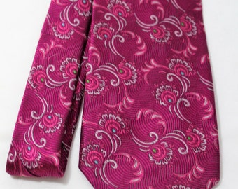 Vintage FILO A'MANO Fuschia Silk Necktie, Big & Tall