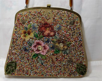 Mid Century Souré New York Needlepoint Beaded Handbag