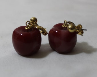 Vintage AVON Dangling Red Apple Earrings