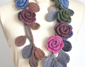 ROSA -  Blue and Pink - Crochet Multicolor Roses Scarf/Lariat