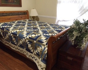 Lexington by Minick and Simpson Classic Blue, Tan and Cream King or Queen Quilt  100 x 100