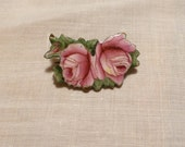 Antique Enameled Rose Pin Made In Czechoslovakia