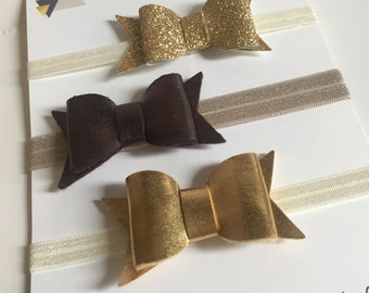 holiday bow gift set - three bows - gold glitter and metallic gold and bronze