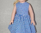 "Dress for 14"" Wellie Wishers or Melissa & Doug Doll Clothes blue flowers tkct977"