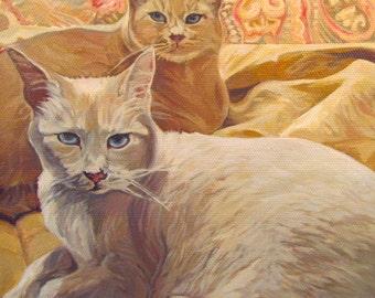 "5x7 cat Greeting Card ""Tale of Two Kitties"""