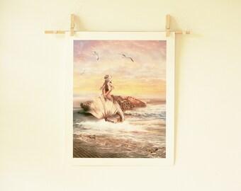 Sunbathing Mermaid 11 x 14 inch Sea Siren Illustration Fantasy Art Archive Quality Giclée Print, Unframed   Made to Order
