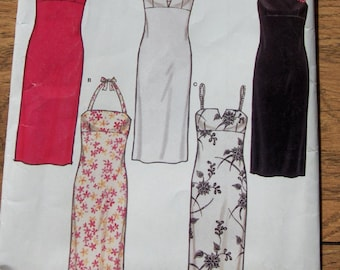 2003 new look pattern 6146 misses dress with bodice variations sz 6-14
