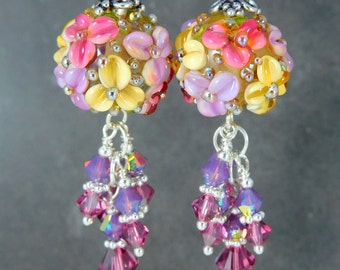 Wild Berry Round Floral & Crystal Dangle Earrings, Pink Violet Amber Glass Drop Earrings Nature Jewelry Flower Jewelry Cottage Chic Lampwork