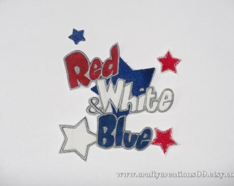 "Iron On Applique, Embroidered Iron On ""Red, White & Blue"""