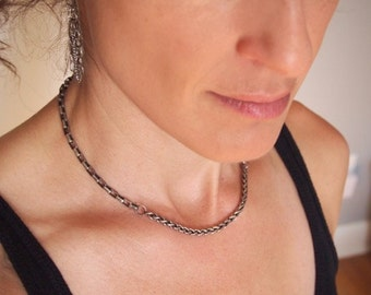 Simple classic sterling silver mixed chain choker necklace