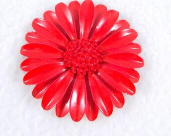 Red Enamel Daisy Brooch