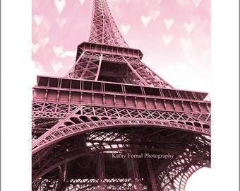 Paris Photography, Pink Eiffel Tower Decor, Baby Girl Nursery Decor, Paris Girl's Room Wall Art, Paris Home Decor, Paris Pink Wall Art Print