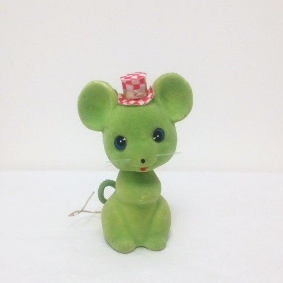 Vintage Bobble Head Mouse Ornament - Bobbing Nodding Green Flocked Mouse with Top Hat