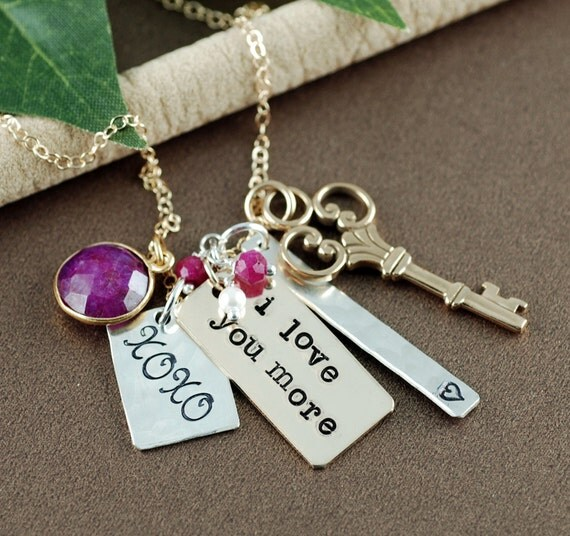 I Love You More Necklace, Personalized Necklace, Cluster Style Jewelry, Love You More, KeepSake Jewelry, XOXO Necklace, RUby Necklace