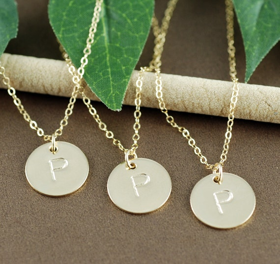 Personalized Initial Necklace, Gold Initial Necklace, Hand Stamped Initial Jewelry, Gift for her, Initial Pendants, Monogram Necklace