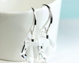 Crystal earrings, fancy sterling silver French hooks, modern, sparkle, clear crystal, drop earrings, by art4ear, free shipping in Canada