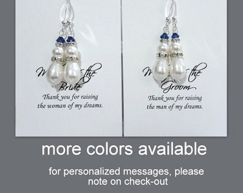 Mother of the Groom / Bride Gift Earrings, Swarovski White and Navy Earrings, Mother of the Groom Mother of the Bride Gift