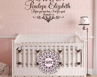 Baby Nursery Name and Scripture Wall Decal - Before I Formed You in the Womb Christian Scripture Jeremiah 1 5 Wall Decal