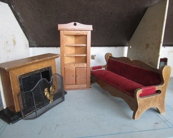 Dollhouse Decor Living Room Furniture-Corner Cabinet, Sofa, Fireplace, Fireplace Screen #69