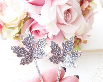 Ox Silver Maple Leaf Hair Pin Set - Maple Leaf Bobby Pins - Woodland Hair - Whimsical - Nature - Bridal Hair Accessory - Wedding Hair Pins
