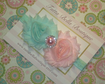 Seafoam and Pink Flower Headband, Pink Headband, Baby Headband Seafoam Newborn Headband Toddler Headband Infant Bow, Pastel Baby Headband