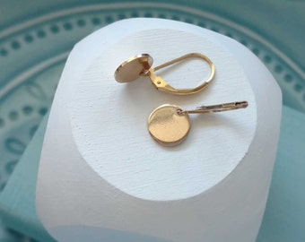 Small Gold Earrings | Round Coin Disc Disk | Gold Drop Dangle Earrings Minimalist Simple Everyday Gold Jewelry Earring Gift for Her Under 35