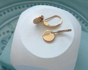 Small Gold Earrings, Round Dangle Earrings, Gold Dangle Earrings, Minimalist Earrings, Everyday Jewelry, Gold Earrings, Gift for Her