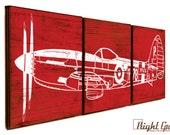Vintage Airplane 178 Wall Art - Old War Plane Decor - Custom Made 12x36