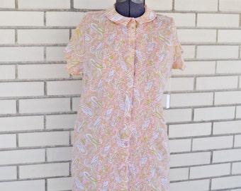 SALE 60s paisley shirt dress, medium vintage dress, 1960s orange psychedelic clothing