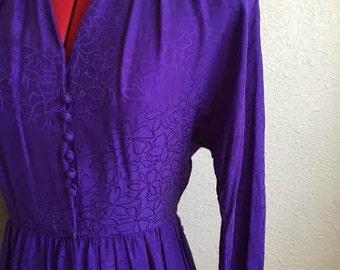 Vintage PURPLE SILK Dress  / 1980s Liz Claiborne Floral Wrap Dress / Womens Size Small