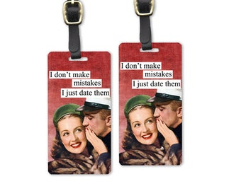 Date Mistakes Retro Woman Metal Luggage Tags Printed Personalized Custom Info On Back Single Tag or Set Available